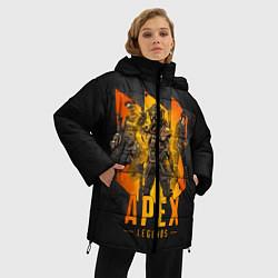 Женская зимняя 3D-куртка с капюшоном с принтом Apex Legends: Trio, цвет: 3D-черный, артикул: 10173146906071 — фото 2