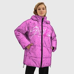 Женская зимняя 3D-куртка с капюшоном с принтом STRAY KIDS АВТОГРАФЫ, цвет: 3D-черный, артикул: 10185295906071 — фото 2