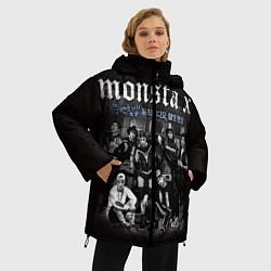 Женская зимняя 3D-куртка с капюшоном с принтом Monsta X, цвет: 3D-черный, артикул: 10186735506071 — фото 2