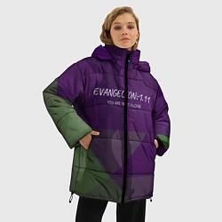 Женская зимняя 3D-куртка с капюшоном с принтом Evangelion: 111, цвет: 3D-черный, артикул: 10201116106071 — фото 2