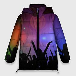 Женская зимняя 3D-куртка с капюшоном с принтом Пати, цвет: 3D-черный, артикул: 10207798106071 — фото 1