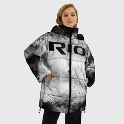 Женская зимняя 3D-куртка с капюшоном с принтом KIA RIO, цвет: 3D-черный, артикул: 10211866506071 — фото 2