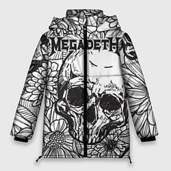 Женская зимняя 3D-куртка с капюшоном с принтом Megadeth, цвет: 3D-черный, артикул: 10218068906071 — фото 1