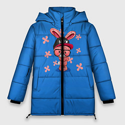 Женская зимняя 3D-куртка с капюшоном с принтом Милый Заяц, цвет: 3D-черный, артикул: 10230917506071 — фото 1