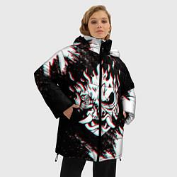 Женская зимняя 3D-куртка с капюшоном с принтом CYBERPUNK 2077 SAMURAI GLITCH, цвет: 3D-черный, артикул: 10237615306071 — фото 2