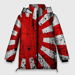 Женская зимняя 3D-куртка с капюшоном с принтом ЯПОНСКИЙ ФЛАГ, цвет: 3D-черный, артикул: 10246801706071 — фото 1