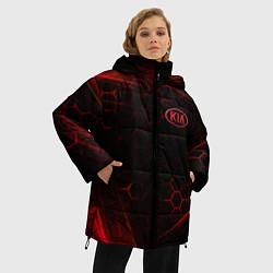 Женская зимняя 3D-куртка с капюшоном с принтом KIA, цвет: 3D-черный, артикул: 10252189106071 — фото 2