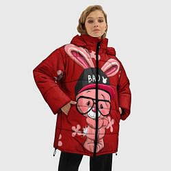 Женская зимняя 3D-куртка с капюшоном с принтом Модный зайка, цвет: 3D-черный, артикул: 10271847906071 — фото 2