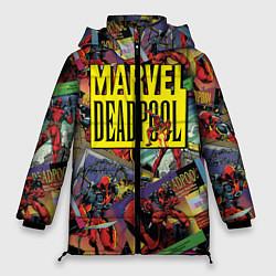 Женская зимняя 3D-куртка с капюшоном с принтом Deadpool, цвет: 3D-черный, артикул: 10275026306071 — фото 1