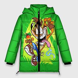 Женская зимняя 3D-куртка с капюшоном с принтом CRASH BANDICOOT, цвет: 3D-черный, артикул: 10275187506071 — фото 1