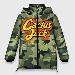 Женская зимняя 3D-куртка с капюшоном с принтом Cactus Jack, цвет: 3D-черный, артикул: 10277060706071 — фото 1