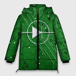 Женская зимняя 3D-куртка с капюшоном с принтом Печатная плата и диод, цвет: 3D-черный, артикул: 10279647306071 — фото 1