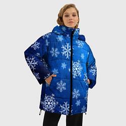 Куртка зимняя женская Новый Год Снежинки цвета 3D-черный — фото 2