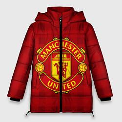 Женская зимняя 3D-куртка с капюшоном с принтом Manchester United, цвет: 3D-черный, артикул: 10063820006071 — фото 1