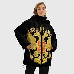 Куртка зимняя женская Герб России: золото цвета 3D-черный — фото 2