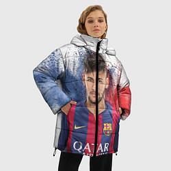 Женская зимняя 3D-куртка с капюшоном с принтом Neymar FCB, цвет: 3D-черный, артикул: 10063907306071 — фото 2