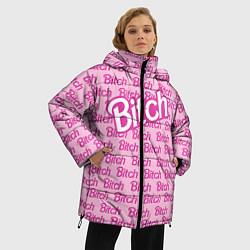 Женская зимняя 3D-куртка с капюшоном с принтом Bitch Barbie, цвет: 3D-черный, артикул: 10064282606071 — фото 2