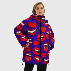 Куртка зимняя женская Губы цвета 3D-черный — фото 2