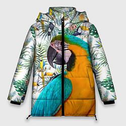 Женская зимняя 3D-куртка с капюшоном с принтом Летний попугай, цвет: 3D-черный, артикул: 10065274106071 — фото 1