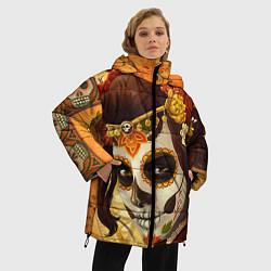 Женская зимняя 3D-куртка с капюшоном с принтом Девушка. Сахарный череп, цвет: 3D-черный, артикул: 10071140306071 — фото 2