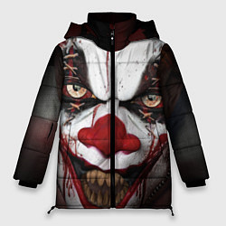Женская зимняя 3D-куртка с капюшоном с принтом Зомби клоун, цвет: 3D-черный, артикул: 10072074206071 — фото 1