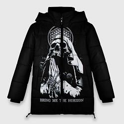 Женская зимняя 3D-куртка с капюшоном с принтом BMTH: Skull Pray, цвет: 3D-черный, артикул: 10073642906071 — фото 1