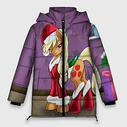 Женская зимняя 3D-куртка с капюшоном с принтом Pinky Pie: Xmas, цвет: 3D-черный, артикул: 10076390606071 — фото 1