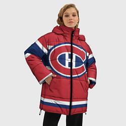Женская зимняя 3D-куртка с капюшоном с принтом Montreal Canadiens, цвет: 3D-черный, артикул: 10079438006071 — фото 2