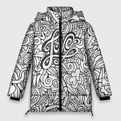 Женская зимняя 3D-куртка с капюшоном с принтом Love графика, цвет: 3D-черный, артикул: 10081366106071 — фото 1