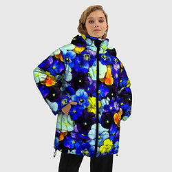 Женская зимняя 3D-куртка с капюшоном с принтом Синие цветы, цвет: 3D-черный, артикул: 10081584206071 — фото 2