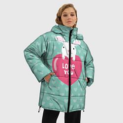 Женская зимняя 3D-куртка с капюшоном с принтом Rabbit: Love you, цвет: 3D-черный, артикул: 10081990706071 — фото 2