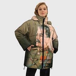 Женская зимняя 3D-куртка с капюшоном с принтом Иосиф Сталин, цвет: 3D-черный, артикул: 10082407706071 — фото 2