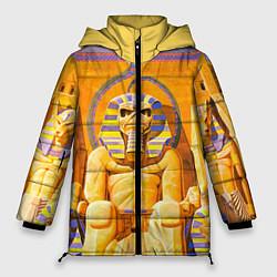 Женская зимняя 3D-куртка с капюшоном с принтом Iron Maiden: Pharaon, цвет: 3D-черный, артикул: 10089880106071 — фото 1