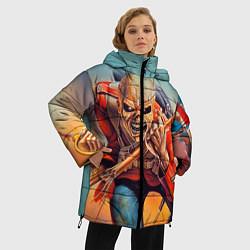 Женская зимняя 3D-куртка с капюшоном с принтом Iron Maiden: Crash arrow, цвет: 3D-черный, артикул: 10089880706071 — фото 2