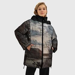 Женская зимняя 3D-куртка с капюшоном с принтом S.T.A.L.K.E.R: Dark Street, цвет: 3D-черный, артикул: 10091865806071 — фото 2