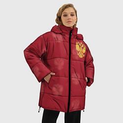 Женская зимняя 3D-куртка с капюшоном с принтом Сборная России по футболу, цвет: 3D-черный, артикул: 10093070906071 — фото 2