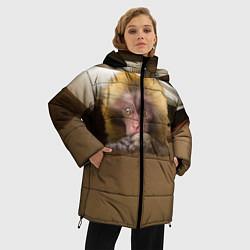 Женская зимняя 3D-куртка с капюшоном с принтом Мартышка, цвет: 3D-черный, артикул: 10096243406071 — фото 2