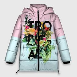 Женская зимняя 3D-куртка с капюшоном с принтом Tropical Art, цвет: 3D-черный, артикул: 10096481906071 — фото 1