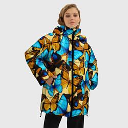 Женская зимняя 3D-куртка с капюшоном с принтом Бабочки, цвет: 3D-черный, артикул: 10096494806071 — фото 2