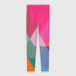Леггинсы женские Разноцветные полигоны цвета 3D — фото 1