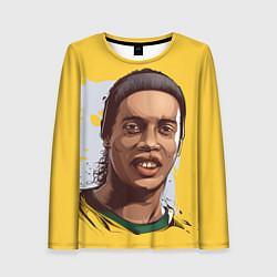 Лонгслив женский Ronaldinho Art цвета 3D-принт — фото 1