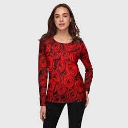 Лонгслив женский Красные розы цвета 3D — фото 2