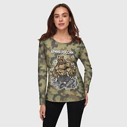 Лонгслив женский Армия России: ярость медведя цвета 3D — фото 2