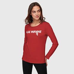 Лонгслив хлопковый женский Lil Wayne цвета красный — фото 2