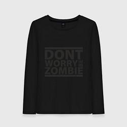 Лонгслив хлопковый женский Dont worry be zombie цвета черный — фото 1