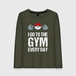 Лонгслив хлопковый женский Gym Everyday цвета меланж-хаки — фото 1