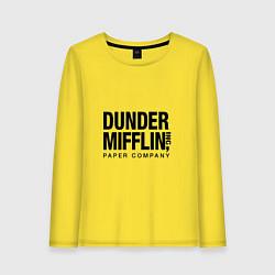 Лонгслив хлопковый женский Dunder Mifflin цвета желтый — фото 1