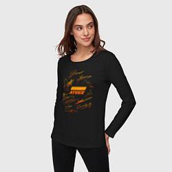Лонгслив хлопковый женский ATEEZ АВТОГРАФЫ цвета черный — фото 2