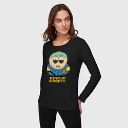 Женский хлопковый лонгслив с принтом South Park, Эрик Картман, цвет: черный, артикул: 10214437100016 — фото 2