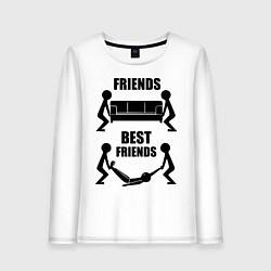 Лонгслив хлопковый женский Best friends цвета белый — фото 1